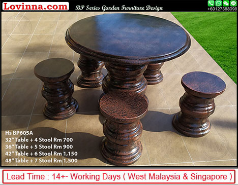 round outdoor concrete table