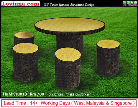 round concrete outdoor dining table